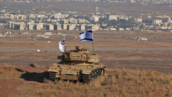 Izraelska flaga na Wzgórzach Golan - Sputnik Polska