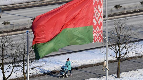 Flaga Białorusi w Mińsku - Sputnik Polska