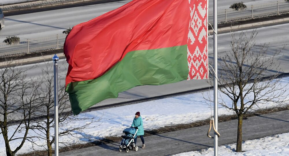 Flaga Białorusi w Mińsku