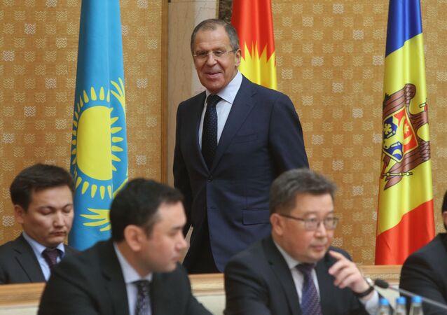 Minister spraw zagranicznych Rosji Siergiej Ławrow na spotkaniu Rady Ministrów Spraw Zagranicznych Wspólnoty Niepodległych Państw