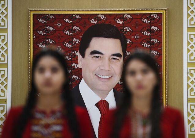 Portret prezydenta Turkmenistanu Gurbanguly'a Berdimuhamedowa