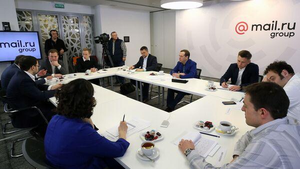 Rosyjski premier Dmitrij Miedwiediew w czasie spotkania z dyrektorami największych rosyjskich firm IT - Sputnik Polska
