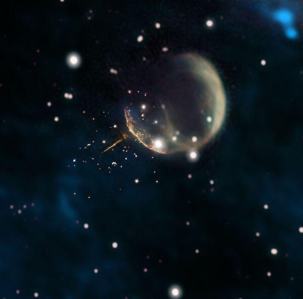Pozostałość po supernowej CTB1, przypominającej bańkę, i świecący ślad po pulsarze J0002+6216 - Sputnik Polska