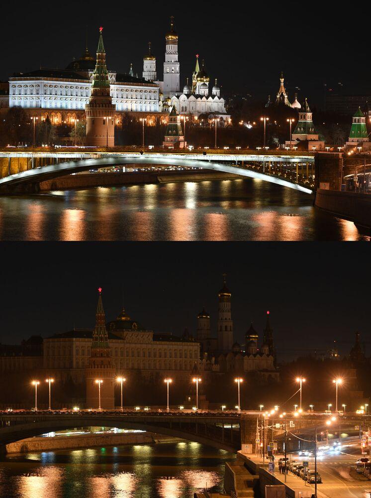 """Moskiewski Kreml przed i po wyłączeniu oświetlenia w ramach akcji ekologicznej """"Godzina dla Ziemi""""."""