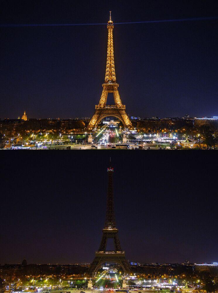 """Wieża Eiffla w Paryżu przed i po wyłączeniu oświetlenia w ramach akcji ekologicznej """"Godzina dla Ziemi""""."""