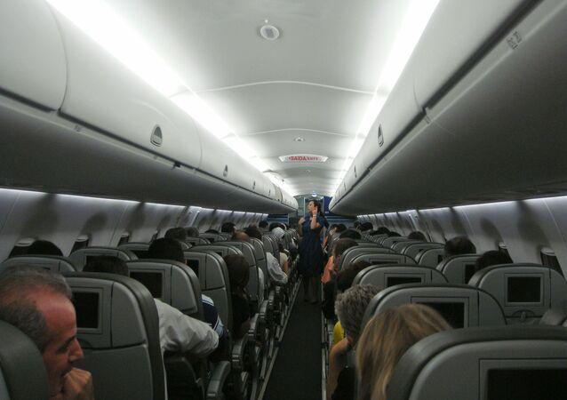 Wnętrze samolotu pasażerskiego
