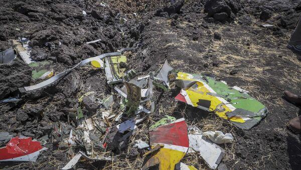 Odłamki na miejscu katastrofy samolotu linii lotniczej Ethiopian Airlines - Sputnik Polska