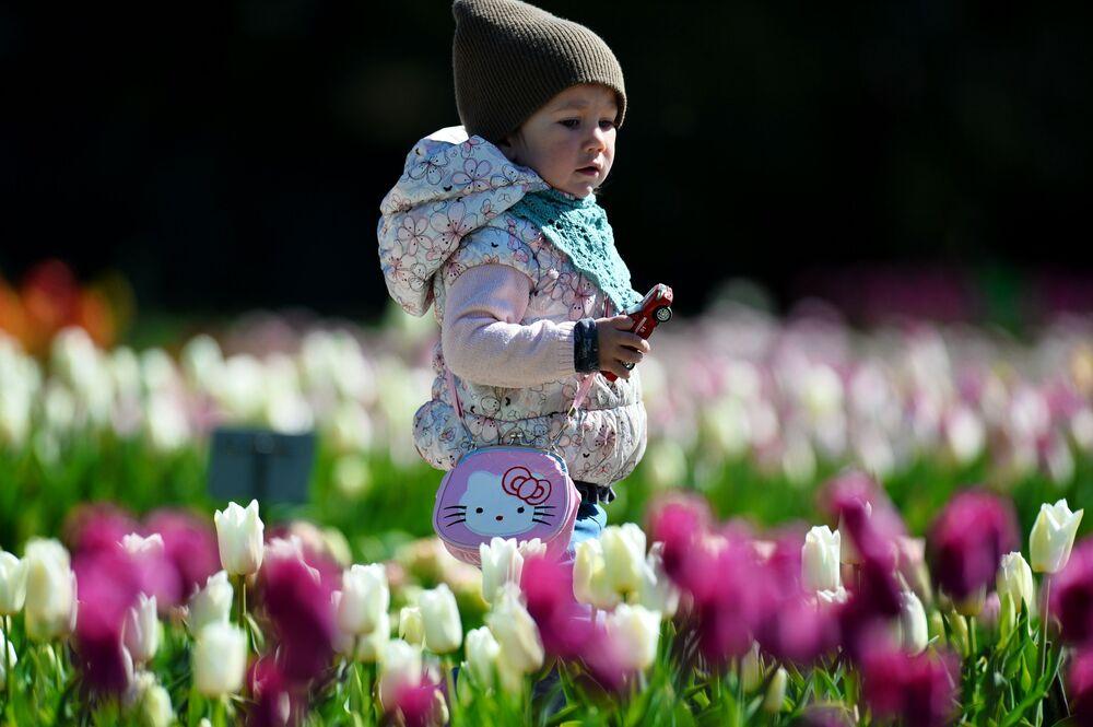 Dziecko w Nikitskim Ogrodzie Botanicznym na Krymie