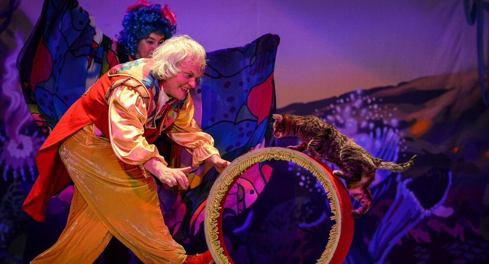Klaun Jurij Kukłaczow podczas spektaklu