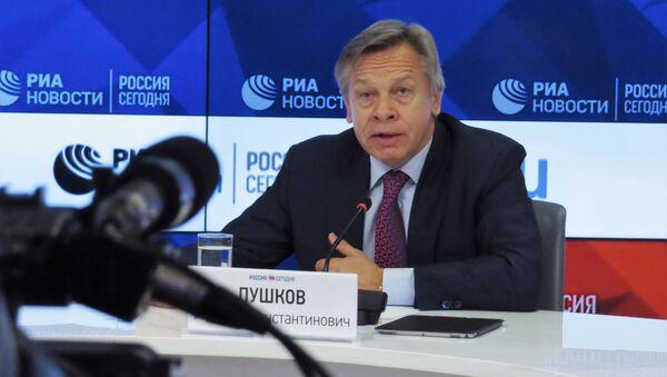 Aleksej Puszkow na konferencji prasowej w MIA Rossiya Segodniya - Sputnik Polska