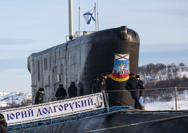 """Okręt podwodny """"Jurij Dołgoruki"""" w bazie Gadżyjewo"""