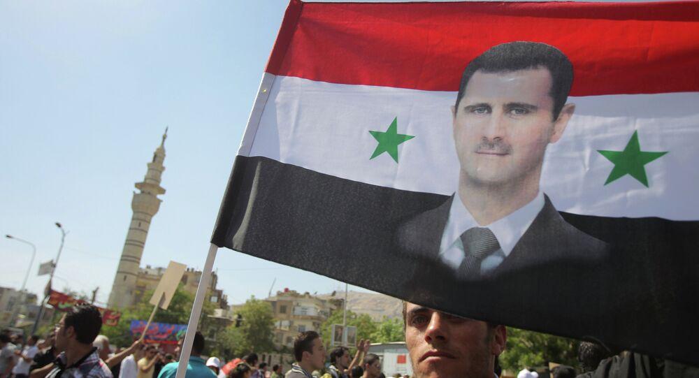 Wiec poparcia dla Baszszara al-Asada w Damaszku