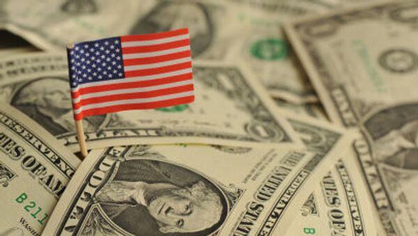 Amerykańska flaga wśród dolarów USA - Sputnik Polska
