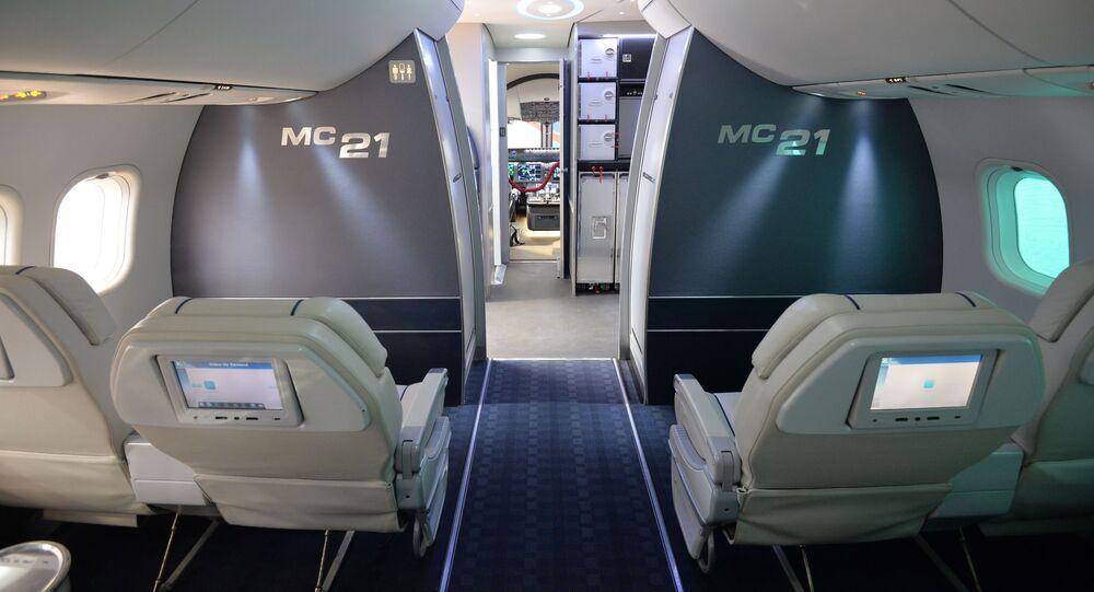 Pomieszczenie pasażerskie samolotu Irkut MS-21 na Mieądzynarodowym salonie awia-kosmicznym Farnboro-2014