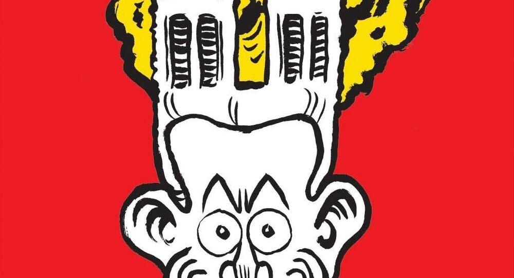 Okładka nowego numeru Charlie Hebdo z karykaturą pożaru w katedrze Notre Dame