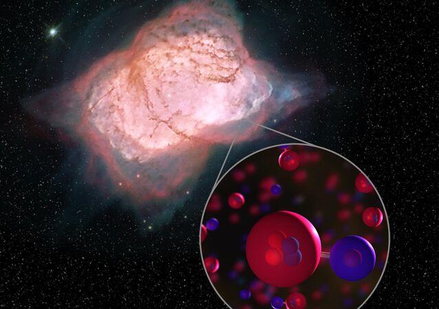 Artystyczne przedstawienie cząsteczki wodorku helu w mgławicy NGC 7027