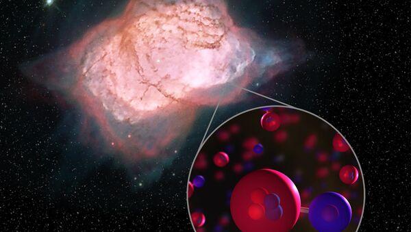 Artystyczne przedstawienie cząsteczki wodorku helu w mgławicy NGC 7027 - Sputnik Polska