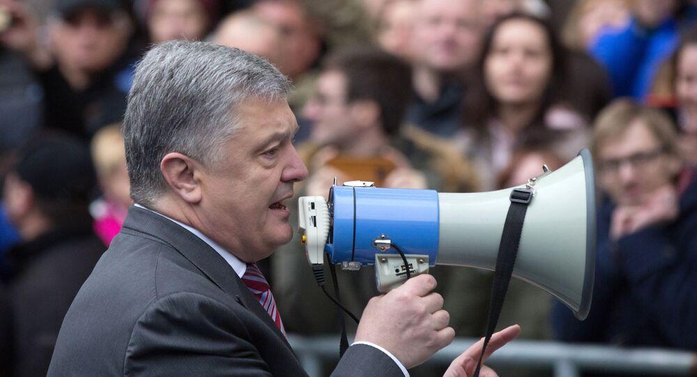 Petro Poroszenko na stadionie Olimpijski w Kijowie, 14.04.2019 r.