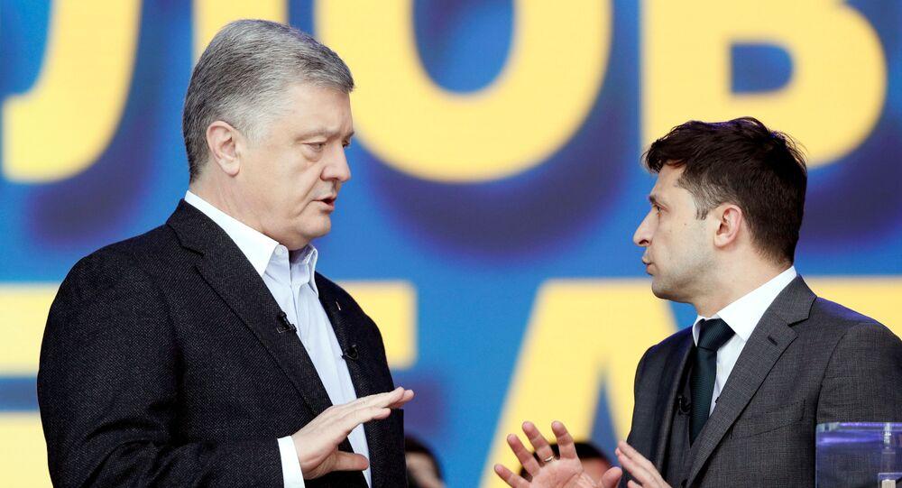 Petro Poroszenko i Wołodymyr Zełenski podczas debaty