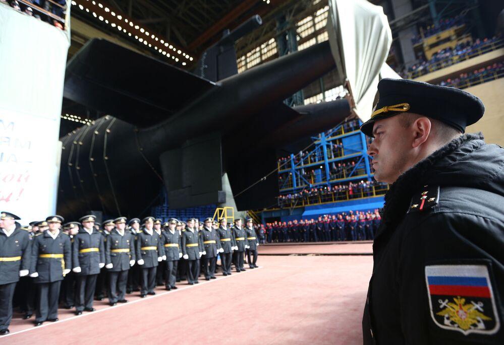 """Wodowanie atomowej łodzi podwodnej """"Biełgorod"""" w obwodzie archangielskim"""