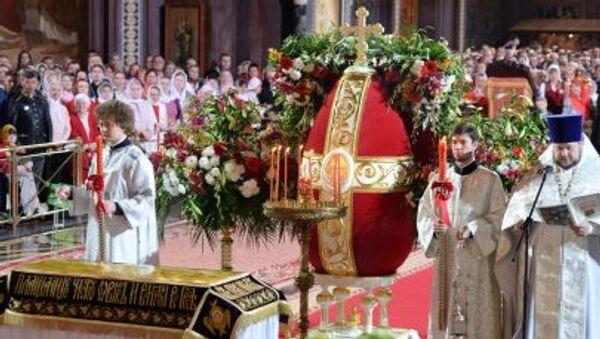 Wielkanocna liturgia w katedrze Chrystusa Zbawiciela w Moskwie - Sputnik Polska