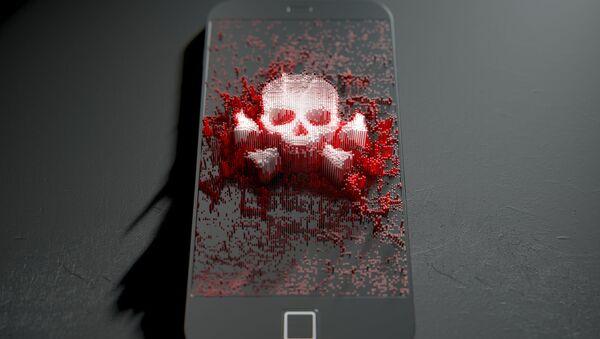 Czaszka i skrzyżowane kości na ekranie telefonu - Sputnik Polska