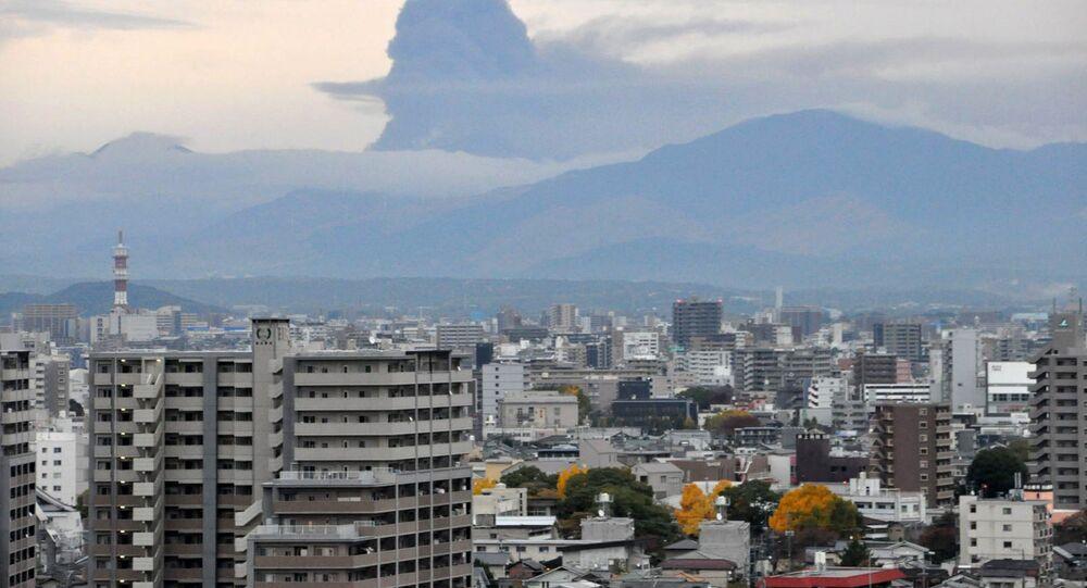 Erupcja wulkanu Aso w Japonii, zdjęcie archiwalne