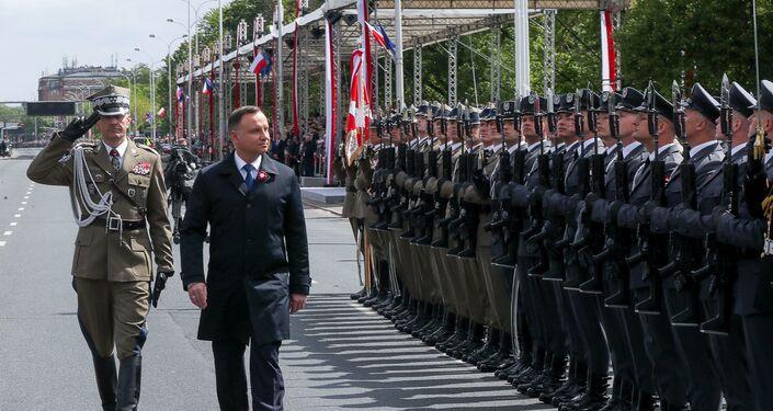 Prezydent Andrzej Duda podczas uroczystych obchodów Święta Konstytucji 3 Maja w Warszawie