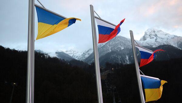Flaga Rosji i flaga Ukrainy - Sputnik Polska