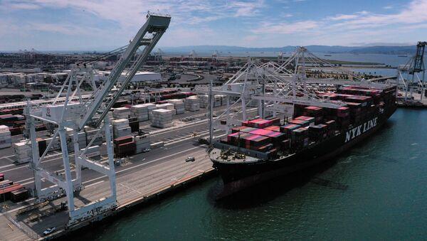 Statek towarowy w porcie Auckland w Kalifornii - Sputnik Polska