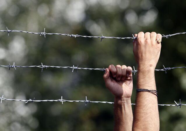 Ogrodzenie z drutu kolczastego na węgierskiej granicy