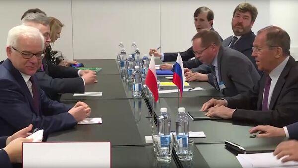 Minister spraw zagranicznych Polski Jacek Czaputowicz i szef rosyjskiej dyplomacji Siergiej Ławrow w Helsinkach - Sputnik Polska
