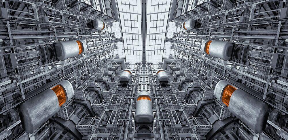 Artystyczny obraz futurystycznych wind.