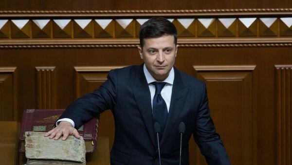 Prezydent elekt Ukrainy Wołodymyr Zełenski podczas inauguracji - Sputnik Polska