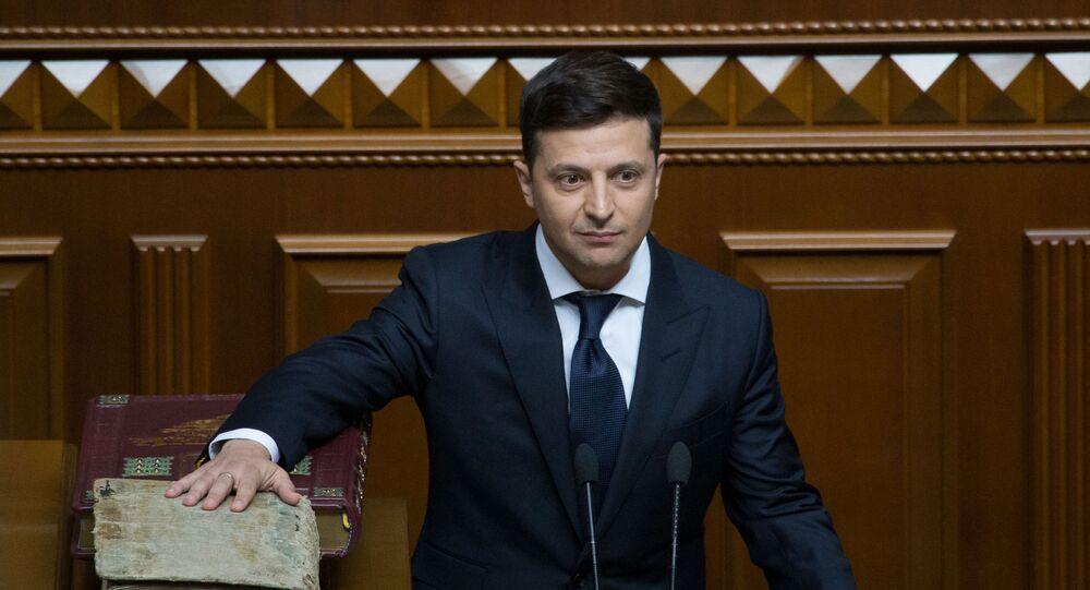Prezydent elekt Ukrainy Wołodymyr Zełenski podczas inauguracji