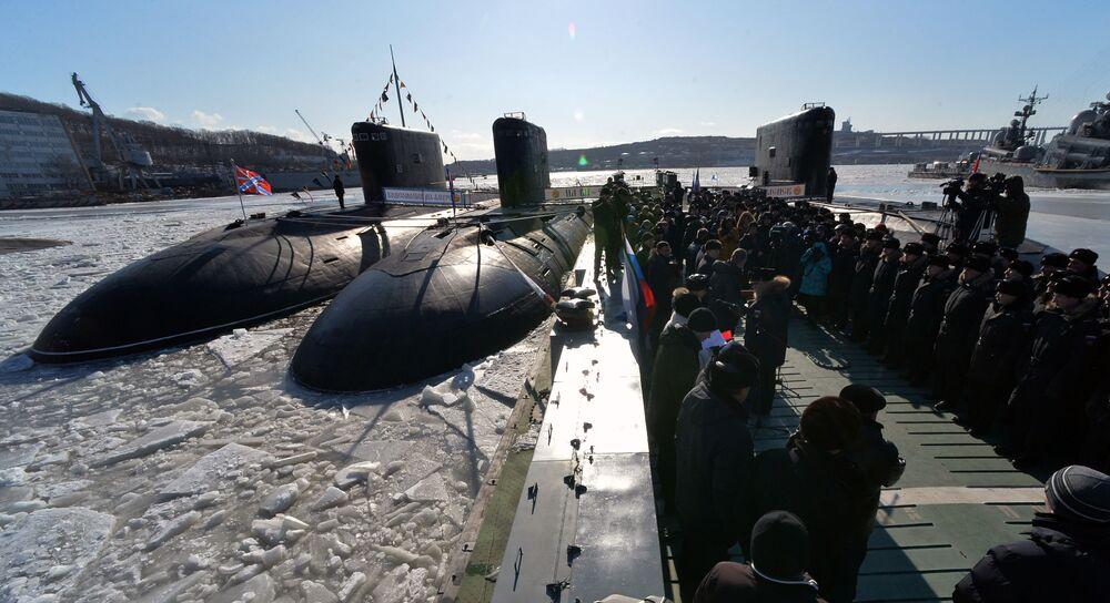 """Łódź podwodna """"Komsomolsk-na-Amure"""" podczas uroczystej ceremonii uruchomienia łodzi po remoncie, 2017 rok"""