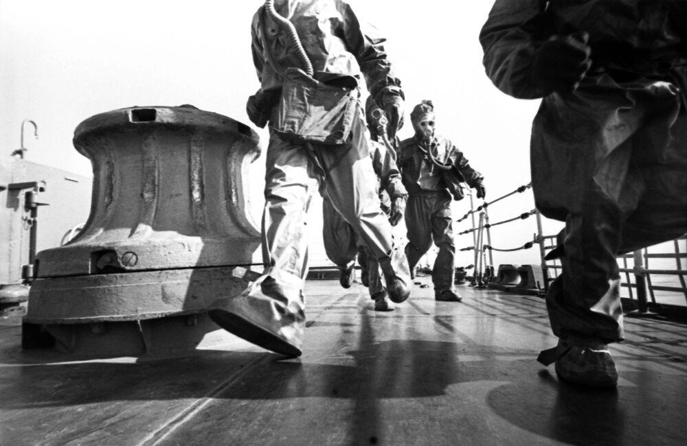Załoga krążownika rakietowego Warjag podczas manewrów, 1967 rok