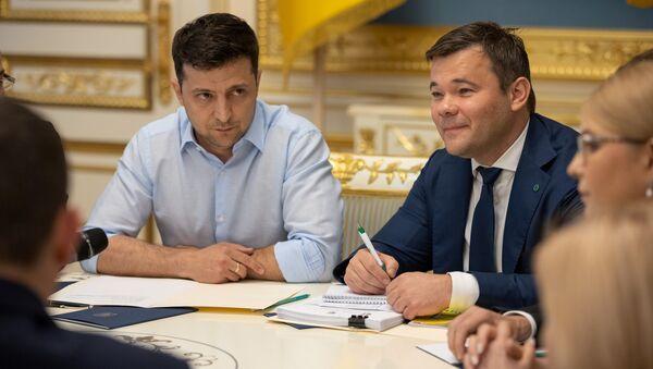 Prezydent Ukrainy Wołodymyr Zełenski i jego doradca Andriej Bogdan w Kijowie - Sputnik Polska