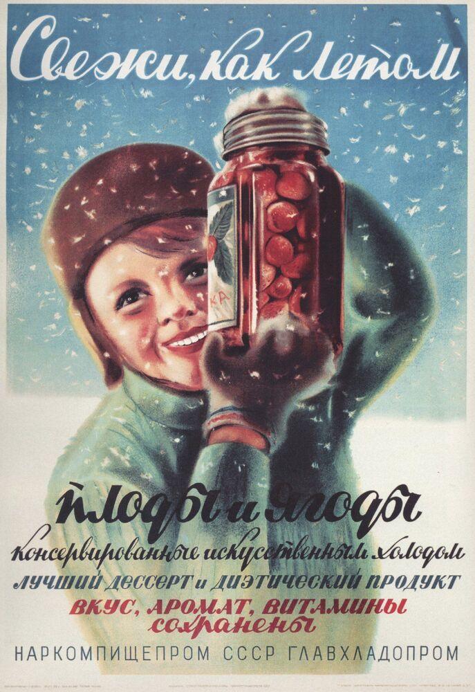 Plakat reklamowy Jagody i owoce świeże, jak latem, 1938 rok