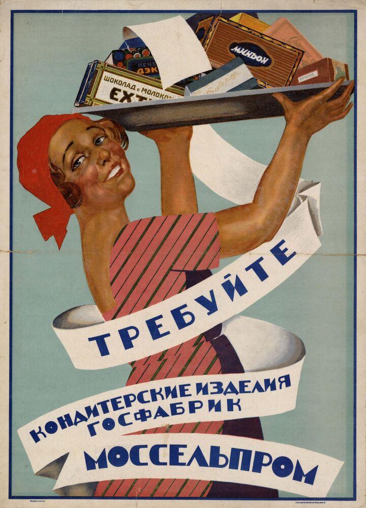 Plakat Żądajcie cukerków Mosselprom, 1928 rok