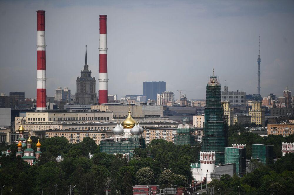 Widok na Moskwę z punktu widokowego na Wzgórzach Worobiowych