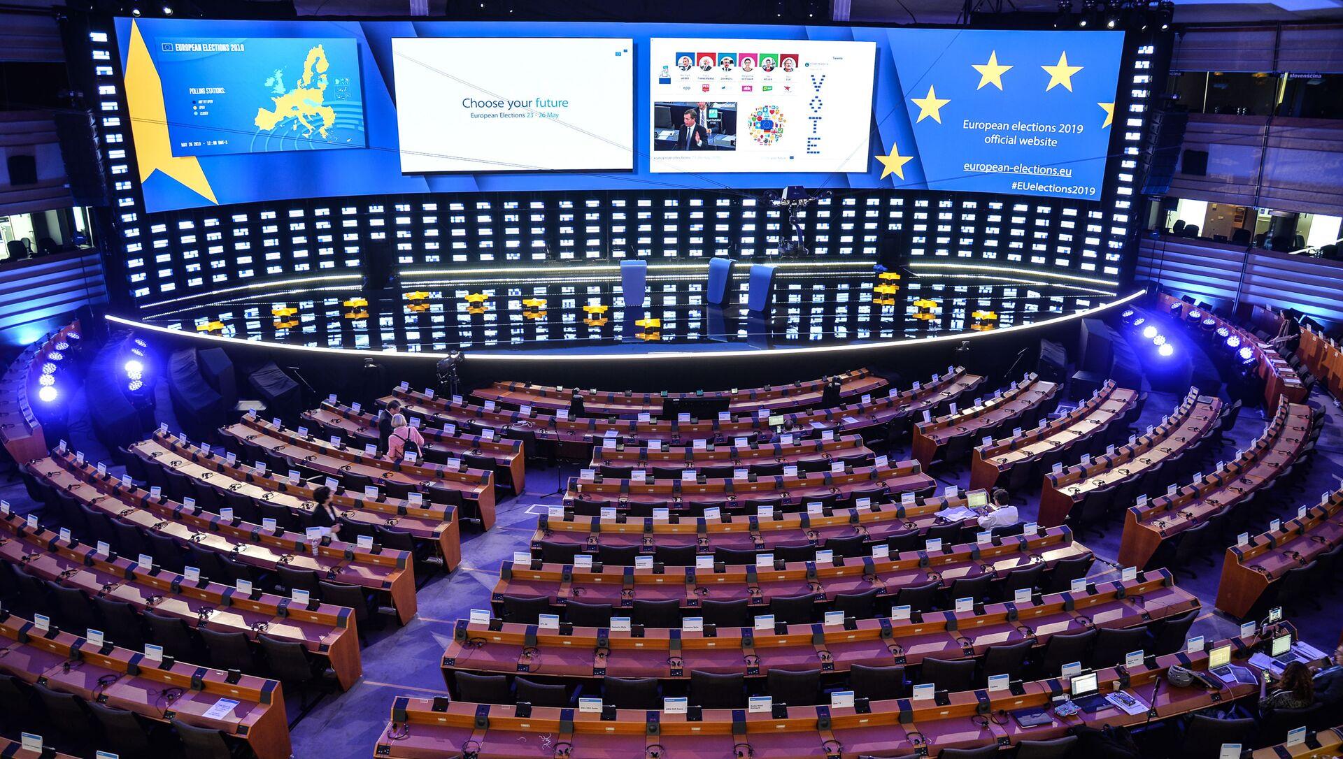Sala posiedzeń Parlamentu Europejskiego, Bruksela  - Sputnik Polska, 1920, 03.04.2021