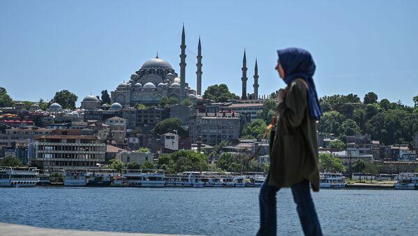 Kobieca sylwetka na tle Meczetu Sulejmana w Stambule - Sputnik Polska