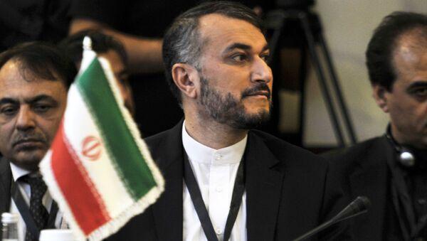 Wiceszef MSZ Iranu Hossein Amir Abdollahian podczas posiedzenia - Sputnik Polska