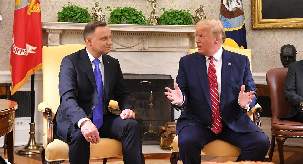 Prezydent Polski Andrzej Duda i prezydent USA Donald Trump podczas spotkania w Białym Domu