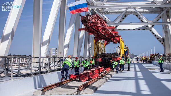 Pierwszy tor kolejowy Mostu Krymskiego - Sputnik Polska