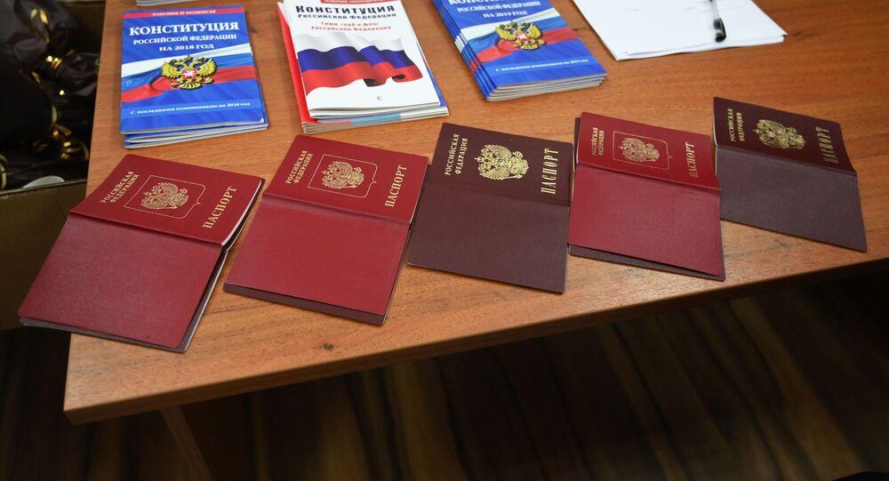 W czasie wydawania paszportów w wydziale ds. migracji oddziału MSW Rosji w obwodzie rostowskim