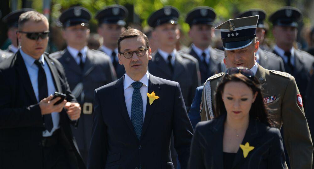 Mateusz Morawiecki podczas uroczystości w związku z 75 rocznicą powstania w getcie warszawskim