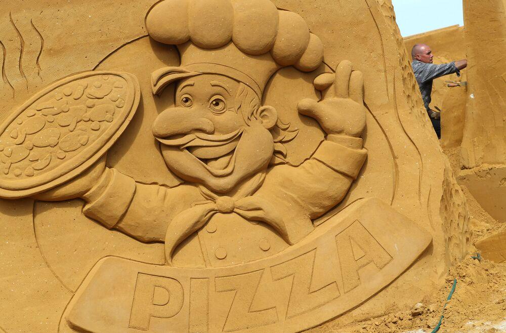 Rzeźba z piasku na festiwalu Marzenia w mieście Ostenda, Belgia