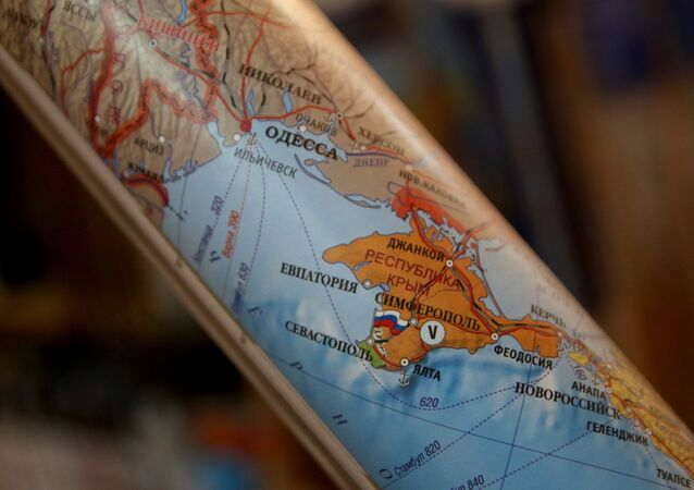 Polityczna mapa Europy, na której Krym jest częścią Rosji